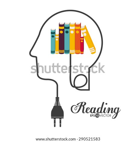Reading design over white background, vector illustration - stock vector
