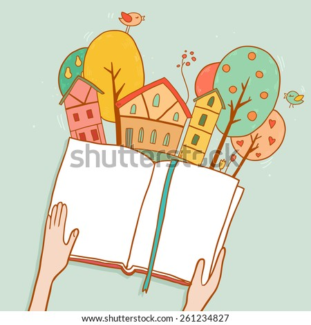 Reading fairy tale, cute little city town with cartoon houses, trees, hands holding a book. Vector illustration with space for your text - stock vector
