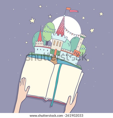 Reading fairy tale, cute little kingdom castle, trees,stars, hands holding a book. Vector illustration with space for your text - stock vector