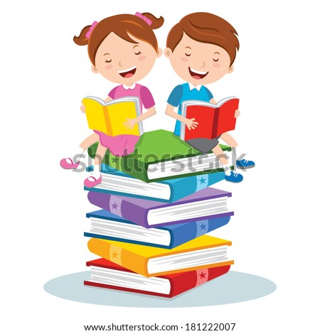 Reading for pleasure. Children sitting on multicolor books, they are enjoying reading.  - stock vector