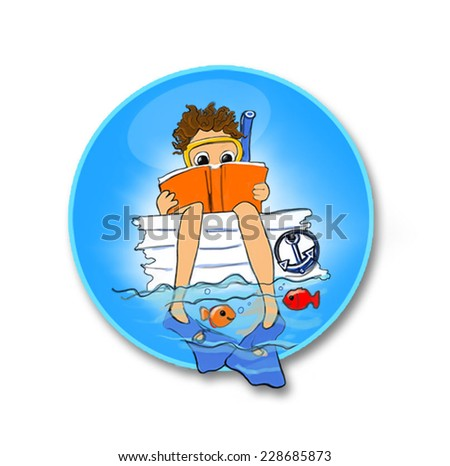 Reading from the boat - stock vector