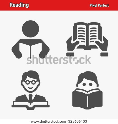 Reading Icons. Professional, pixel perfect icons optimized for both large and small resolutions. EPS 8 format. - stock vector
