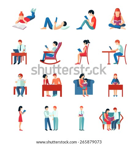 Reading people flat character set with books magazines newspapers isolated vector illustration - stock vector
