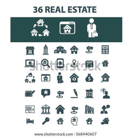 real estate, agent, agency, buildings  icons, signs vector concept set for infographics, mobile, website, application  - stock vector