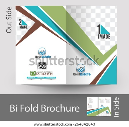 Real Estate Agent Bi-fold Brochure & Mock up Design - stock vector