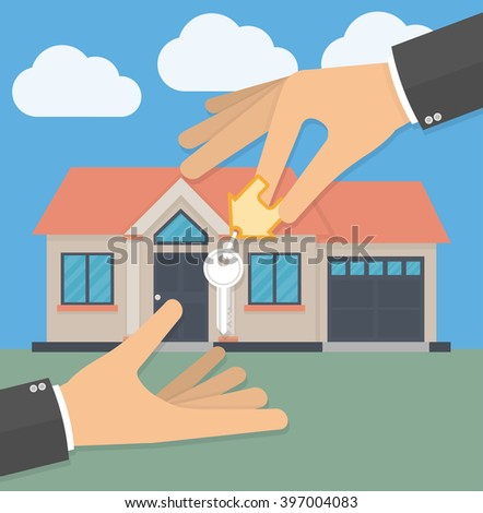 Real estate agent hand giving house key to his customer. Buying a new house and receiving house keys concept. Vector illustration in flat style - stock vector