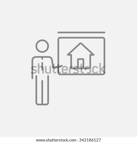 Real estate agent showing the house line icon for web, mobile and infographics. Vector dark grey icon isolated on light grey background. - stock vector
