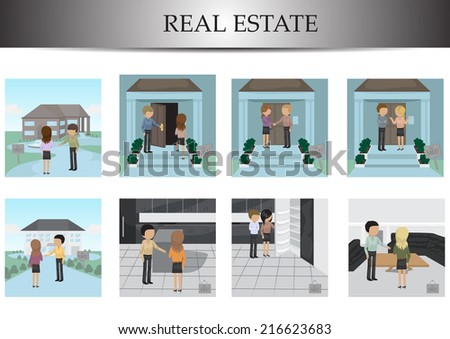Real Estate Agent With Buyers Set - Isolated On White Background - Vector Illustration, Graphic Design Editable For Your Design    - stock vector