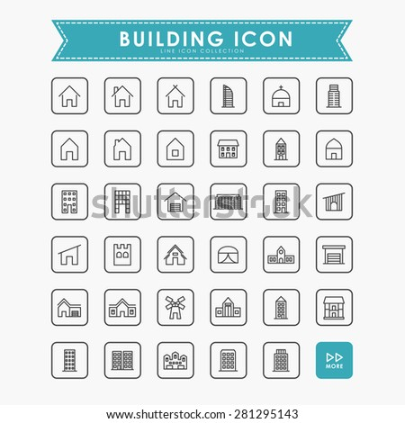 real estate and building line icons - stock vector