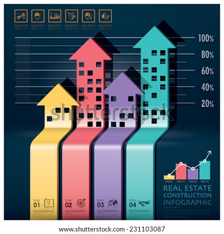 Real Estate And Construction Infographic With Building Arrows Diagram Design Template - stock vector