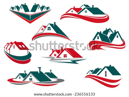 Real estate and house icons or symbols for business or construction logo design with green, red roofs and waves - stock vector