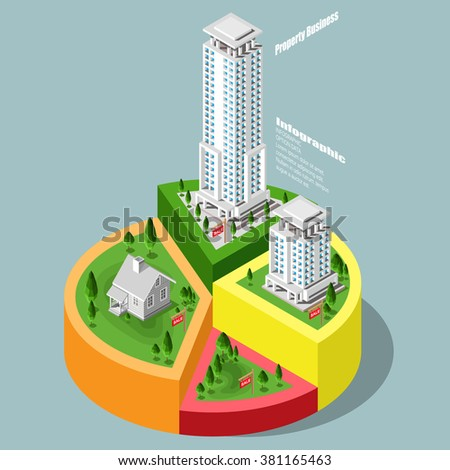 Real Estate And Property Business City info graphics in isometric with town houses, skyscrapers, town houses and streets and trees. Isometric city in graphs and charts. - stock vector