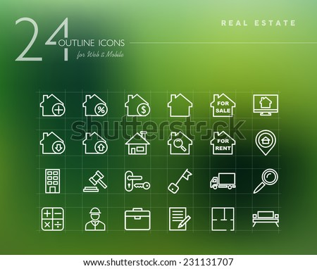 Real estate and property outline icons set for web and mobile app. EPS10 vector file organized in layers for easy editing. - stock vector