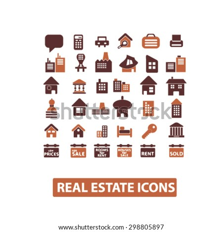 real estate, building, home, architecture, agent icons, signs, illustrations set, vector - stock vector