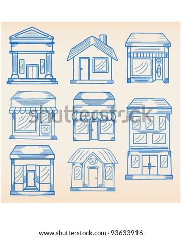 Real Estate Buildings Icons Set    vector is eps10 - stock vector