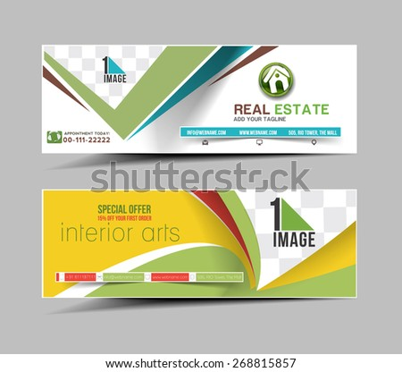 Real estate Business Ad, Web Banner & Header Layout Template - stock vector