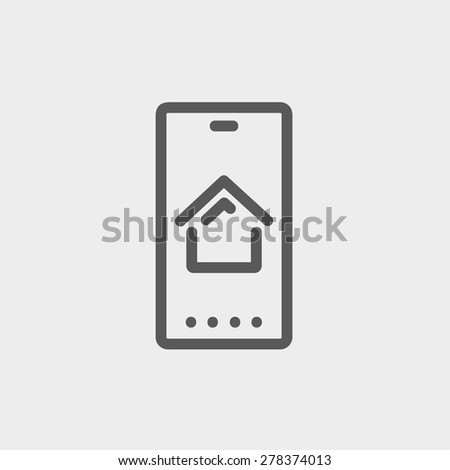 Real estate business card icon thin line for web and mobile, modern minimalistic flat design. Vector dark grey icon on light grey background. - stock vector