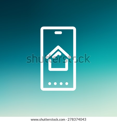 Real estate business card icon thin line for web and mobile, modern minimalistic flat design. Vector white icon on gradient mesh background. - stock vector