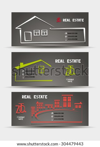 Real estate business cards with the silhouettes of houses with place for text - stock vector