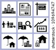real estate business, investment icon set - stock vector