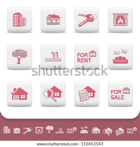Real estate business. Professional vector icons buttons set. Home, house, sale, rent, cottage, building, skyscraper, keys, fireplace, pool, sofa, apartments, garage, tree, magnify, calculator symbols - stock vector