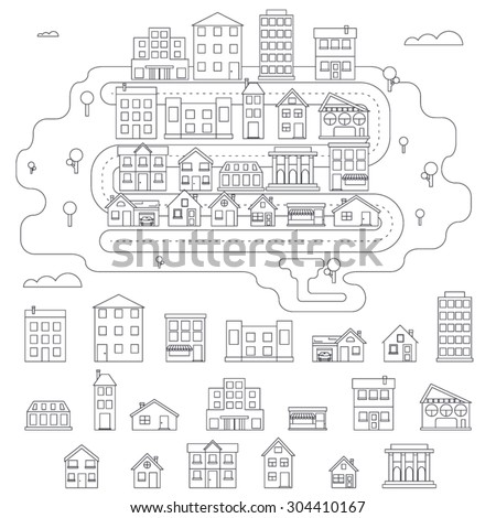 Real Estate City Building House Street Linear Icons Constructor Set Isolated Graphic Template Stock Vector Illustration - stock vector