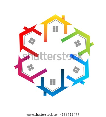 Real estate colorful icon vector - stock vector