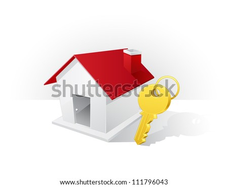 Real estate concept : home and key icons - stock vector