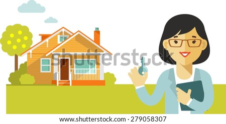 Real estate concept realtor woman with key on house background in flat style - stock vector