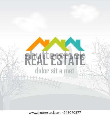Real estate, construction, ecology, outdoor recreation vector logo design template. The icon on the eroded landscape. - stock vector