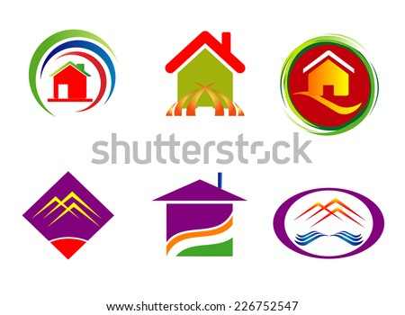 Real estate corporate logo company sign set template  - stock vector