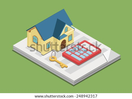 Real estate costs expenses value rent price concept flat 3d web isometric infographic vector. House key calculator on paper advertisement. Creative people collection. - stock vector