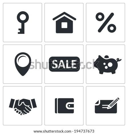 Real Estate Deal icon set - stock vector