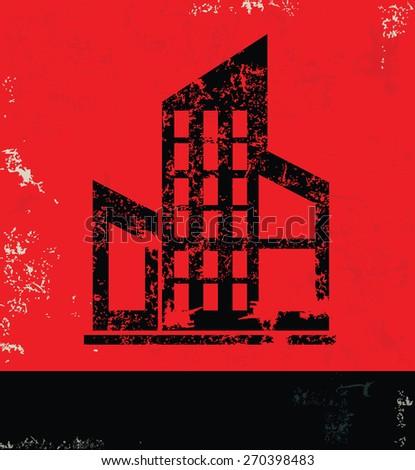 Real estate design on grunge background ,red version - stock vector
