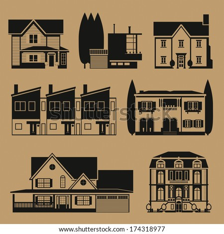 Real estate duotone infographic set - stock vector
