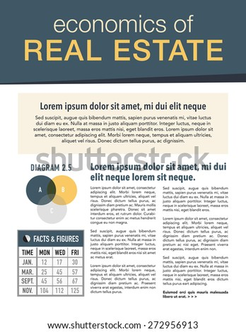 Real estate economics newsletter for use with business or nonprofit - stock vector