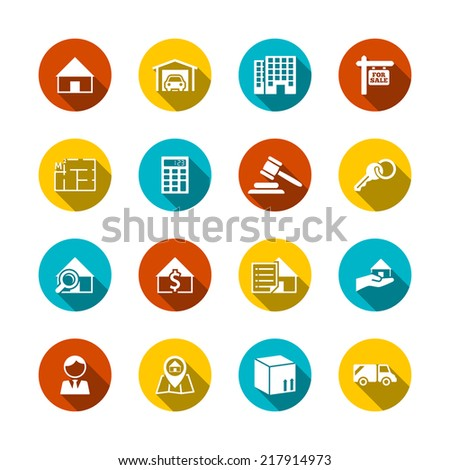 Real estate flat icons set of key plan auction isolated vector illustration - stock vector
