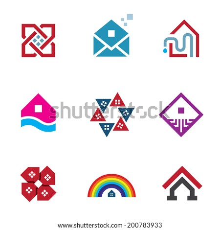 Real estate foundation great building house construction logo abstract icon - stock vector