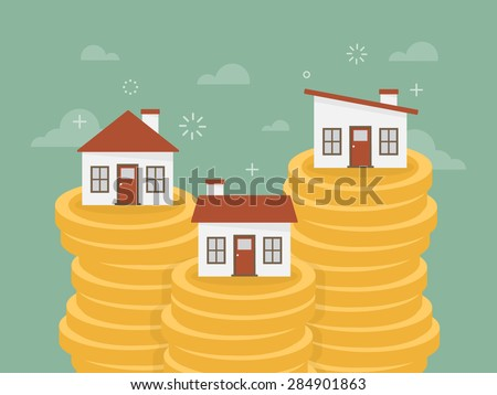 Real estate. House on stack of coins. Flat design business concept illustration. - stock vector