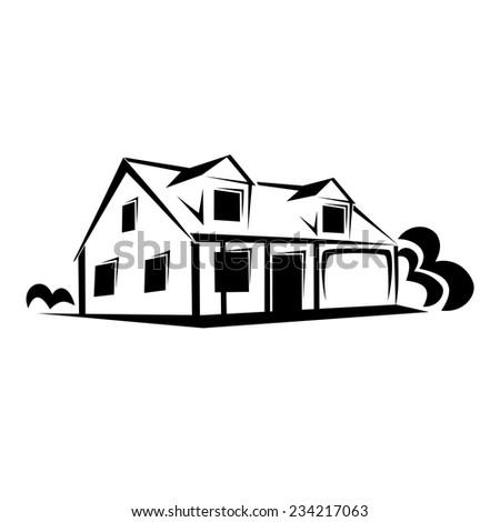 Real estate, house sketch - stock vector