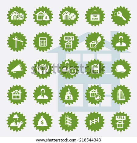 Real estate icon set,green version,clean vector - stock vector