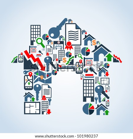 Real estate icon set in house silhouette background illustration. Vector file layered for easy manipulation and custom coloring. - stock vector