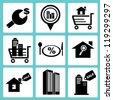 real estate icon set, property icon set, estate management icon set - stock vector