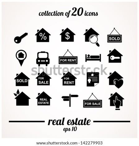 Real estate icons collection. Vector illustration. - stock vector