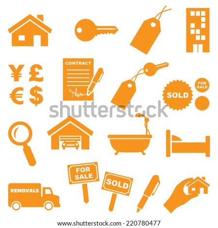 Real estate icons. Gradient free and very easy to change color. - stock vector