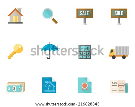 Real estate icons in flat color style - stock vector