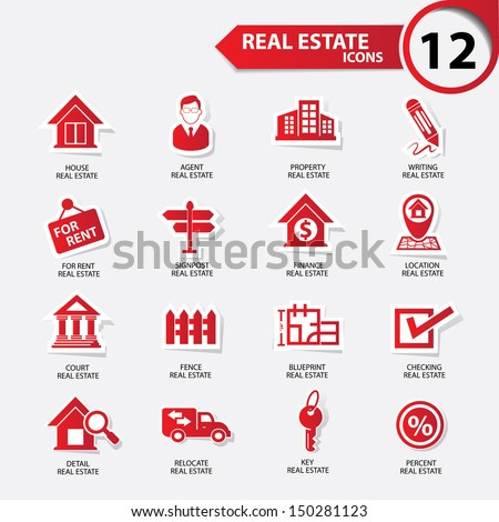 Real estate icons,red version,vector - stock vector