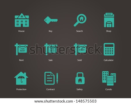Real Estate icons. Vector illustration. - stock vector