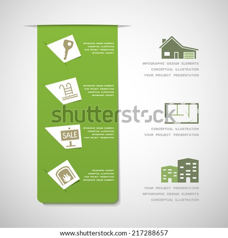 Real estate infographic design elements - stock vector