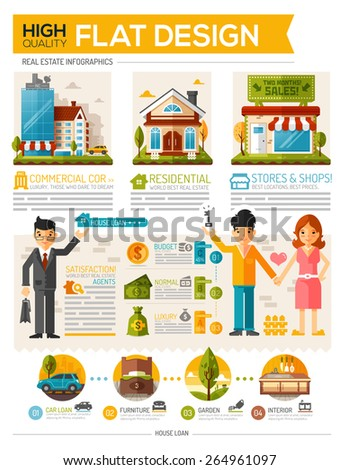 Real estate infographic flat design style - stock vector